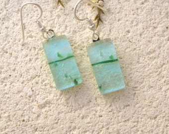 Petite Earrings, Pastel Green Earrings, Dangle Drop Earrings, Dichroic Earrings, Glass Earrings, Fused Glass Jewelry, Dichroic  020816e100