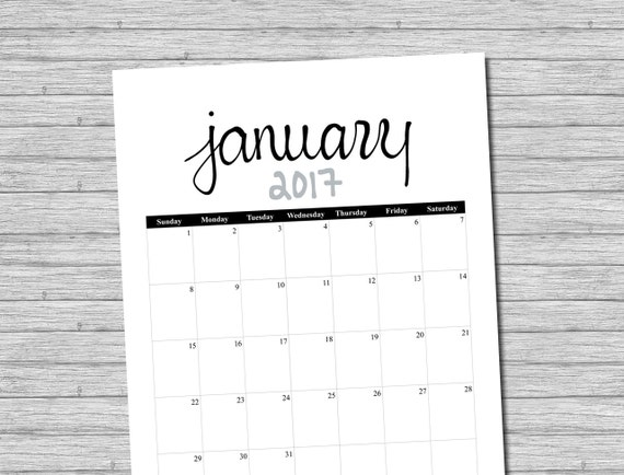 2017 Calendar, Printable Calendar, Black, Grey, Printable Monthly Calendar, Calendar Pages, Portrait Calendar, Calender, Instant Download