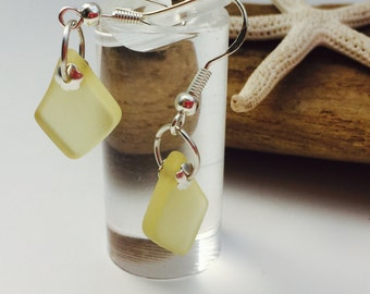 Lemon Yellow Sea glass earrings ~beach glass earrings ~ seaglass jewelry ~sterling Silver ~hawaiian jewelry ~ bohemian minimalist jewelry