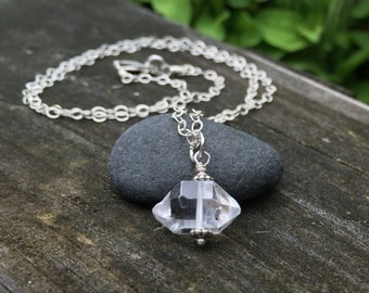 Herkimer Diamond Pendant Genuine Gemstone Sterling Silver Necklace Double Terminated Quartz Crystal Solitaire Single Big Simple Basic One