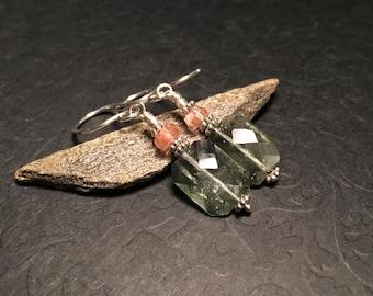 Moss Aquamarine and Oregon Sunstone Sterling Silver Dangle Earrings