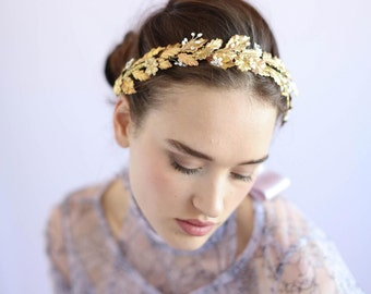 Bridal headband - Holly leaf gilded headband - Style 651 - Made to Order