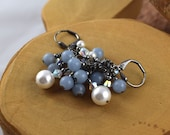 Blue Angelite and Swarovski Crystal and Pearl Glam cascade earrings perfect for prom weddings or just everyday
