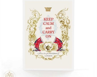 Keep calm and carry on card, Union Jack, London, British, birthday card, tea card, blank inside, all occasion card