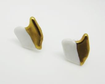 Metallic Gold and White Half Dipped Ohio Earrings Glazed Ceramic on Nickel Free Titanium Studs