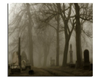 Foggy, Graveyard Road, Dark, Misty Night, Eerie Image, Halloween Art, Fog Photograph, Gothic - The Road