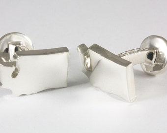 Washington WA State Sterling Silver Cufflinks