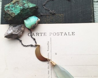 L u n a...Light Aqua chalcedony, Brass crescent moon, chakra, Energy, healing, boho necklace, layering, mixed metals, witchy, FREE SHIPPING