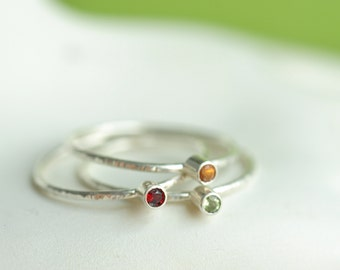Birthstone rings - set of 3 - build your stones - natural gemstone rings in sterling silver