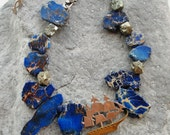 High Seas Necklace Variscite Pyrite Lapis Lazulie Sterling Silver Pirate Statement jewelry