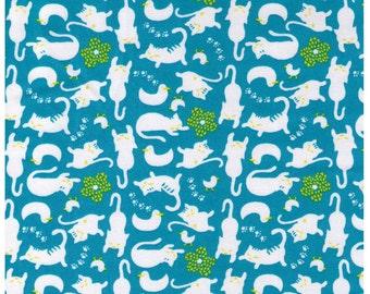 HALF YARD - Cats and Ducks on AQUA Colorway - Kitty, Paw Prints - Poplin - Japanese Import