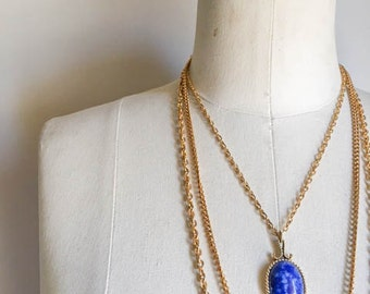 Pretty Vintage 70s 80s Layered Blue Stone Pendant Necklace