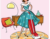 Retro, Mid Century, Fashionista, Vacuuming, 8x10, pink, hostess gift, wall decor, 50's, kitchen art, dining room art, print