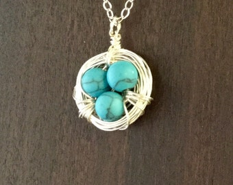Bird's Nest Mother's Necklace, Silver nest with dyed Howlite Eggs, Birthstone Necklace, Custom Necklace