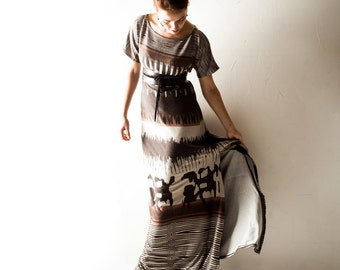Maxi dress, Boho dress, Long dress, tunic dress, Jersey dress, Brown dress, Long gown, Floor length gown, Hippie dress, african print dress