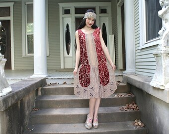 AS IS Burn-out silk velvet Scarlet Louise Brooks Flapper Dress  luxe 1920s as found