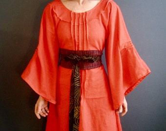 Orange Linen Dress - iheartfink Handmade Womens Modern Bohemian Wearable Art Kimono Bell Sleeves Solid Red Orange Long Linen Dress