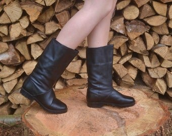 black winter boots, Us 6, Uk 4, Eu 37, Black Slouch Boots, Snow Boots, Womens Boots 6, Warm Winter Boots, Chunky Heel, Black Leather Boots
