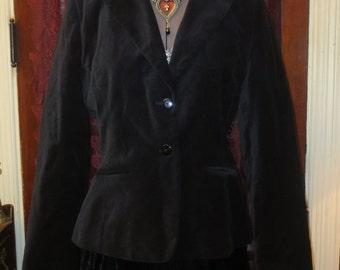 Vintage Black Velvet Jacket Blazer S/M Steampunk Gothic