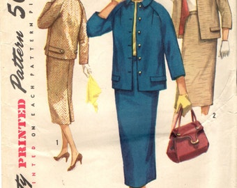 Simplicity 1798 Two Piece Suit Jacket Straight Skirt Bust 36 VINTAGE 1950s circa 1955