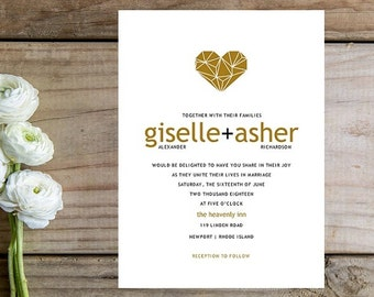 Gold Wedding Invitation - Modern Wedding Invitations, Heart, Custom Invite