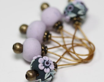 Sock and Lace Size Standard Set of Five Handmade Floral Stitch Markers, Lavender Fields