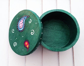 Wooden Stash Box, Paisley Print Keepsake Box, Trinket Box, Jewelry Box, Wooden Keepsake Box, Round Green Wood Box,Whimsical Painted Wood Box