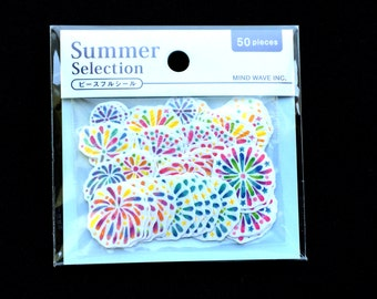 Japanese Summer Stickers S89 Fireworks 50 Sticker Flakes
