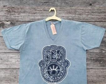 Hamsa men  bio organic cotton eco friendly batik handmade gray - Men's clothing shirt -