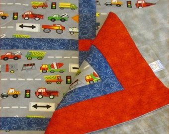 "Cars and Trucks ""Vehicles"" road Quilt in Grey, Blue and Red cotton and cotton-flannel handmade in PA for Bassinet, Baby Crib and Toddler Bed"