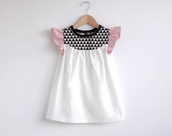 girls cotton dress with geo print detail