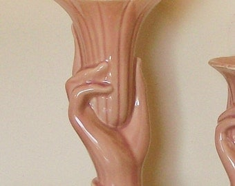 "Peachy Tall Hand Vase Vintage Shawnee Pottery Cottage Home Decor 10"" High"