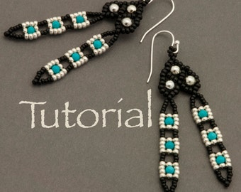 Seed bead and Turquoise Earring Tutorial Tail Feathers