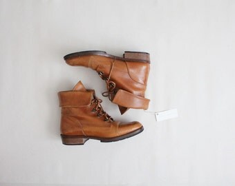 cuffed leather hiking boots | size 6.5 boots | size 7 ankle boots
