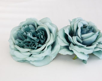 Vintage Inspired Rose In Blue Gray - Silk Artificial Flowers - ITEM 096