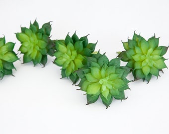 Fake Succulents - Set of 5 Artificial Succulents in Green - Fake Chicks and Hens - Faux Succulents - item 0349