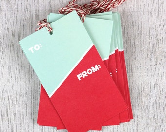 Two Tone Tags - set of 12