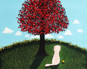 Cream Apricot Standard Poodle Dog Folk Art PRINT of Todd Young painting FALL TREE
