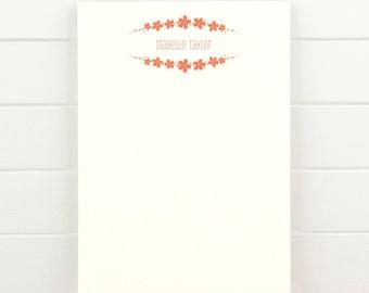 BOUQUET Personalized Notepad - Pretty Cute Flower Custom Letterhead