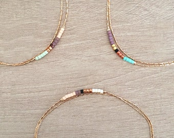 Minimalist Delicate Rose Gold Bracelet with Tiny Beads // Thin Dainty & Colorful Bracelet // Multicolor Boho Friendship Bracelet