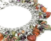Autumn Jewelry - Autumn Leaves - Fall Jewelry - Fall Bracelet - Autumn Bracelet - Thanksgiving - Carnelian Jewelry