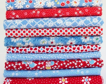 1930's Reproduction Fabric Bundle Red and Blue