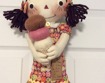 Ice Cream Cone Raggedy Ann Doll in pinks and orange by yellowsweetpotato