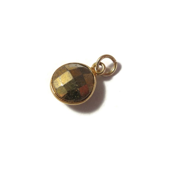 Baby Pyrite Charm, Round Fool's Gold Pendant with Gold Plated Bezel, Faceted Double Sided Gemstone Charm (C-Py1b)