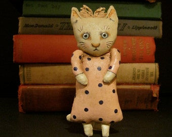 cat art doll , little cat girl , sandy mastroni, whimsical, pink polka dot , wall art doll , shelf art,