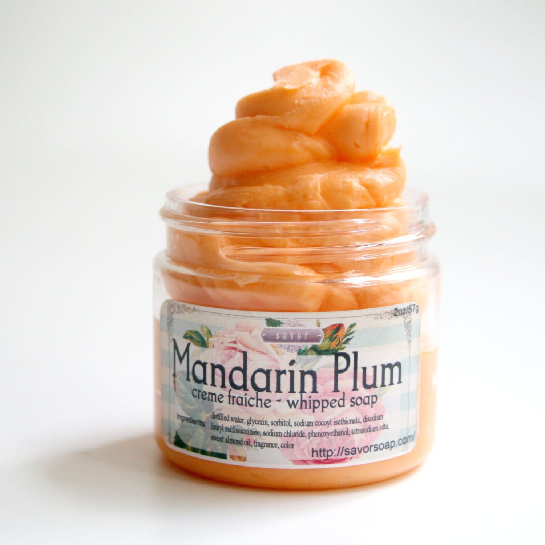 whipped soap mandarin plum 2 oz mini creme fraiche vegan. Black Bedroom Furniture Sets. Home Design Ideas