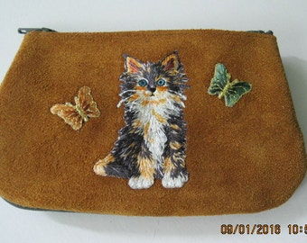 FLUFFY CALICO KITTY with Butterflies,   Coin Purse on  Toast Leather Suede