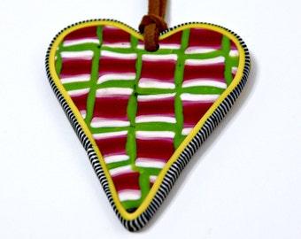 Handmade Art Pendant Heart Pendant In Vibrant Colors