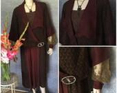 1920s Gatsby, Boardwalk Empire Elegant Day Dress, Metallic Lame' Lace, Paste Ornament, Medium - Large