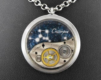 Steampunk Cassiopeia Constellation Necklace - Marvelling At Cassiopeia's Crown by COGnitive Creations